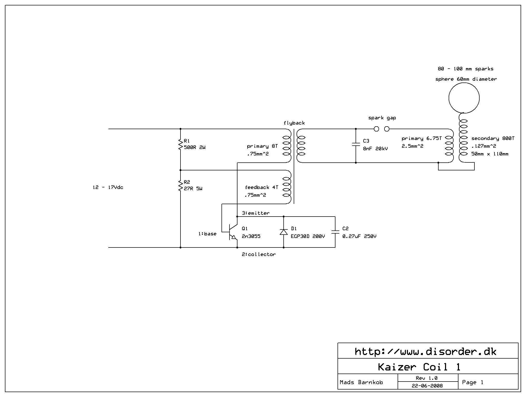 Kaizer Sgtc I Power Electronics 20kv Dc High Voltage Flyback Supply Circuit Schematic
