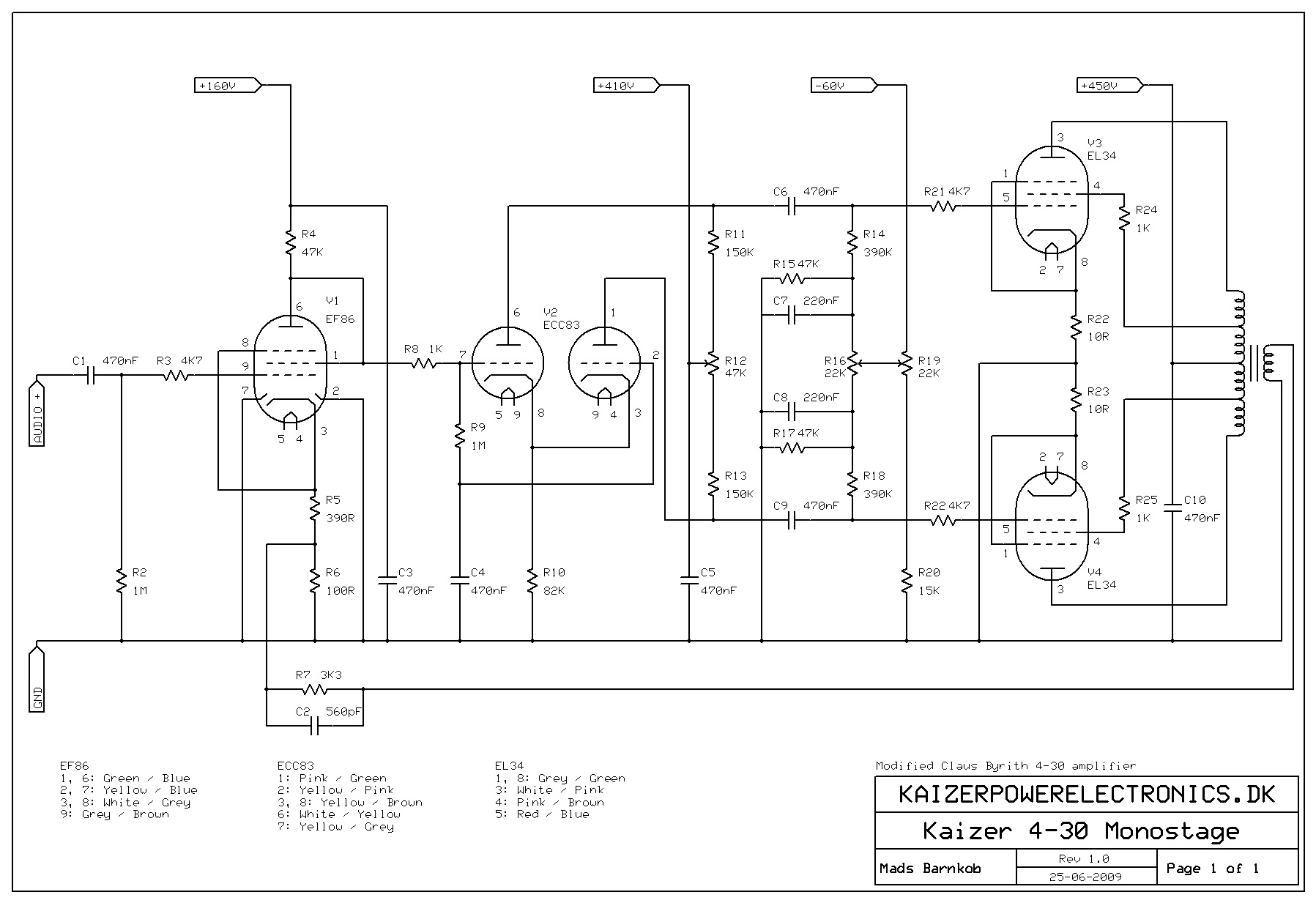 2x30w El34 Tube Amplifier Kaizer Power Electronics 1000 Watt Amp Circuit Diagram Schematic Monostage Supply