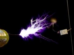 Tesla coil SSTC sparks CW mode 1