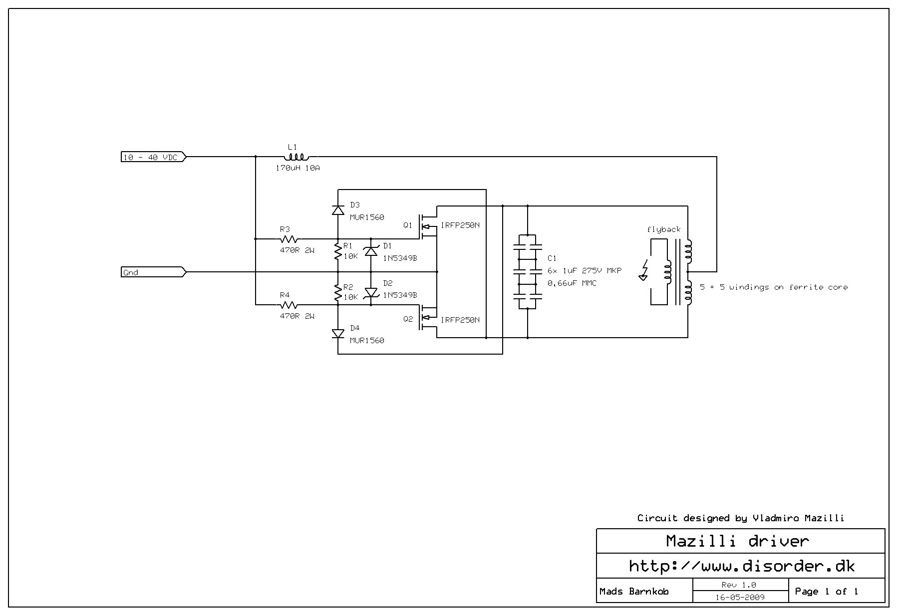Mazilli Zvs Flyback Driver Kaizer Power Electronics Circuit Diagram Online Of Ups 500w 2 Schematic Mazilliflybackdriverschematic