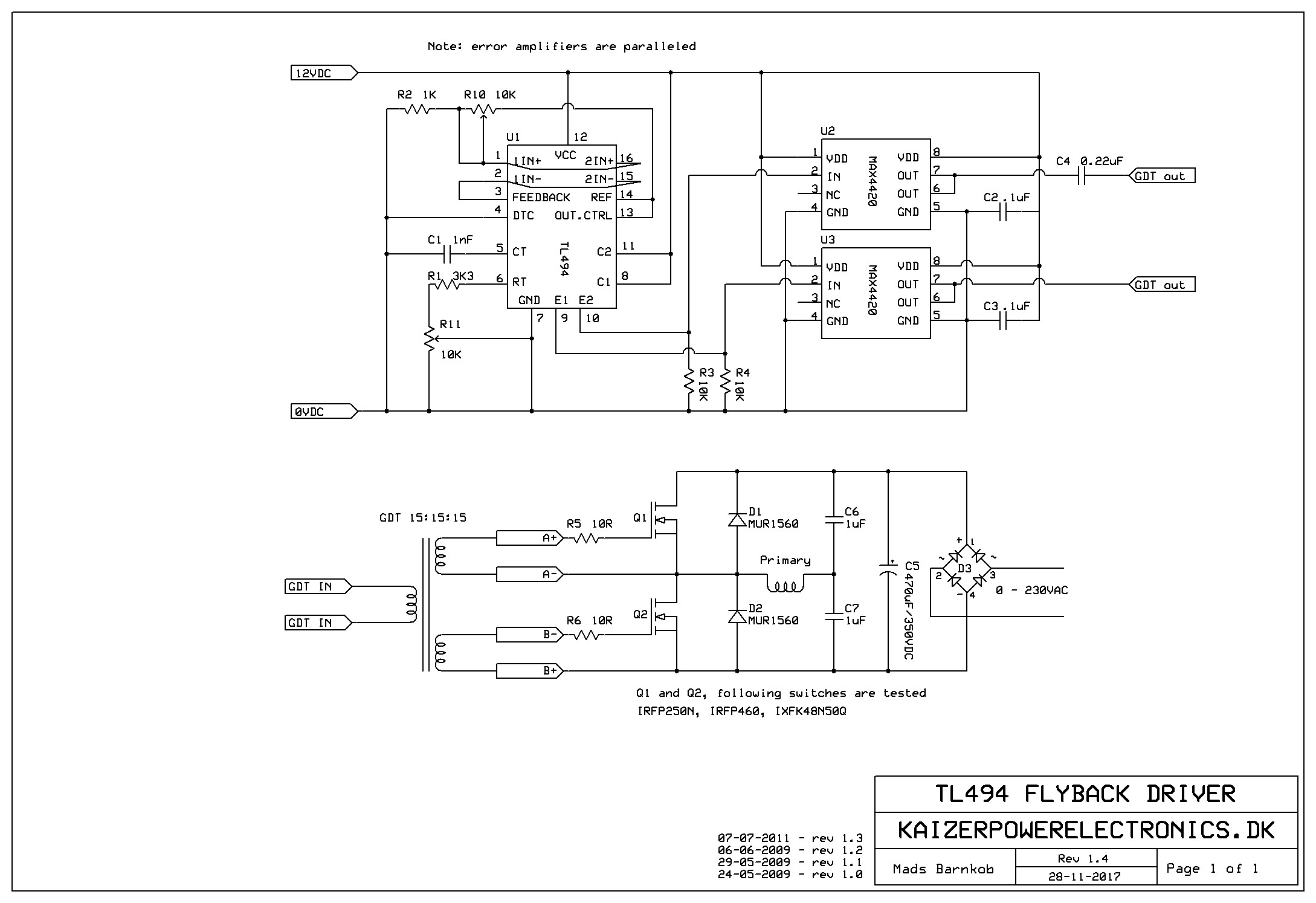 Tl494 Flyback Driver Kaizer Power Electronics Induction Heating Diagram Schematic
