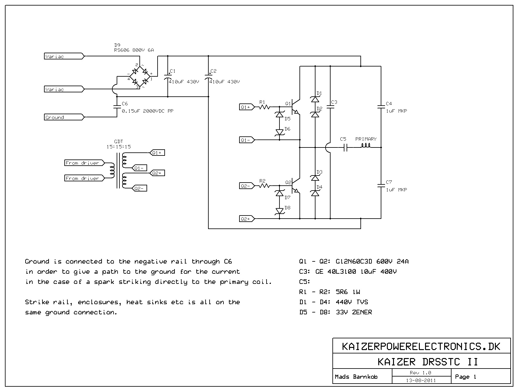 Kaizer DRSSTC II | Kaizer Power Electronics