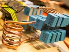 Induction heater work coil and capacitors