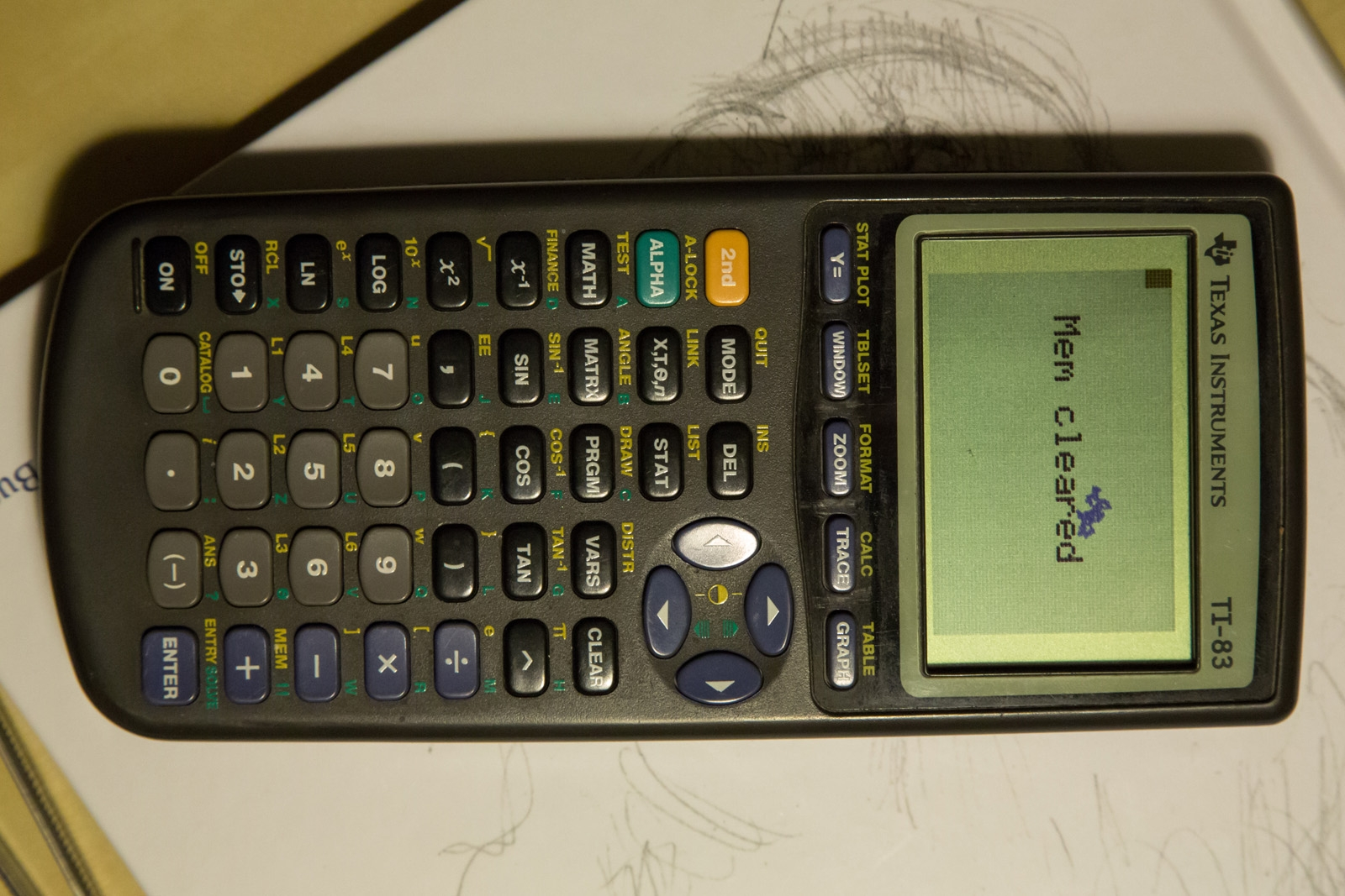 Texas Instruments TI-83 calculator display repaired and test
