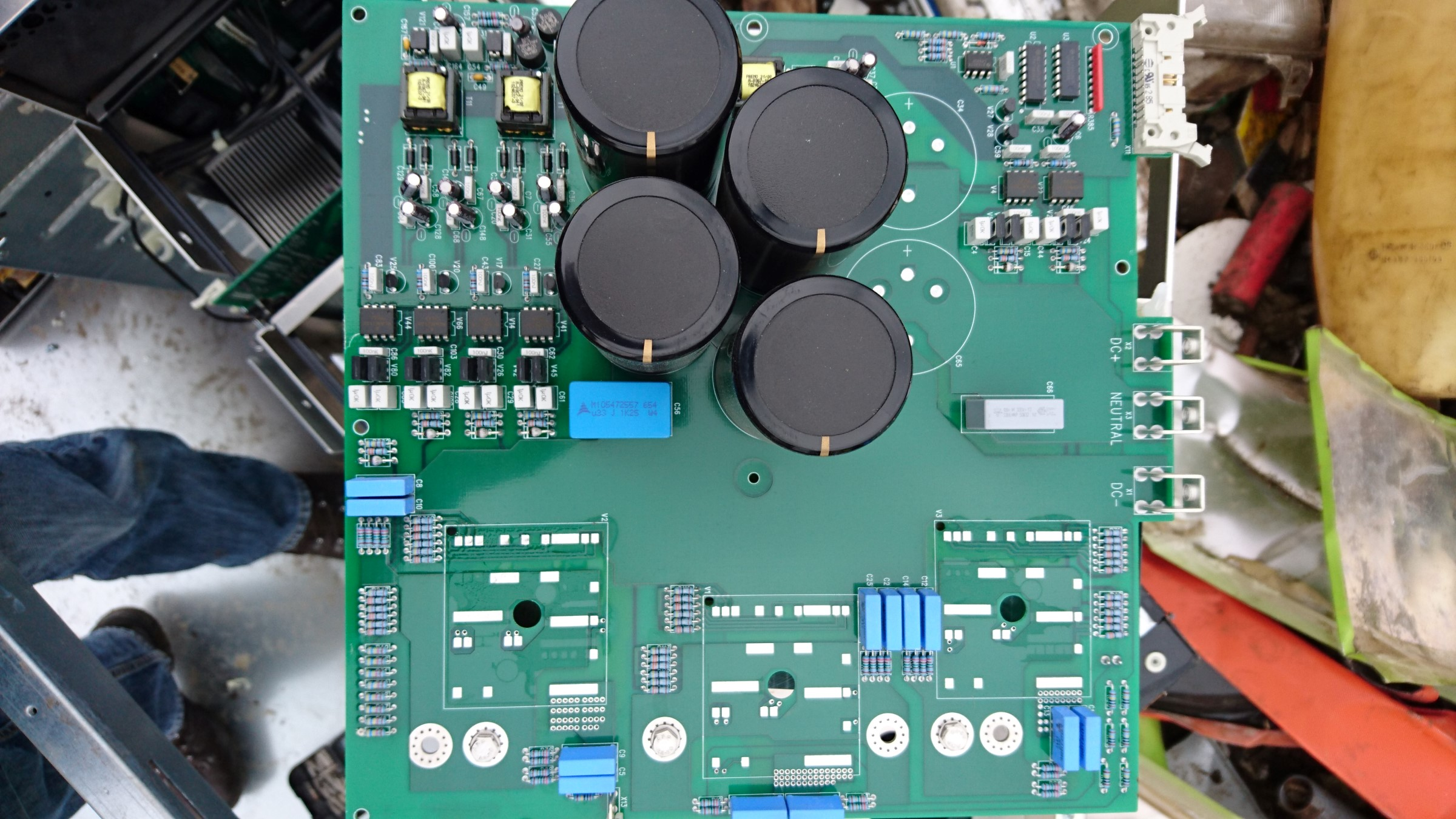 Teardown Eaton Powerware 30 Kva Ups Kaizer Power Electronics Leave A Comment Tags For Home Installation Inverter Wiring The Pfc Circuit Board Has Three Skkt 122 16e Thyristor Half Bridge Modules Rated At 1700 V And 130 In Lower Left Of Close Up Picture We Can See