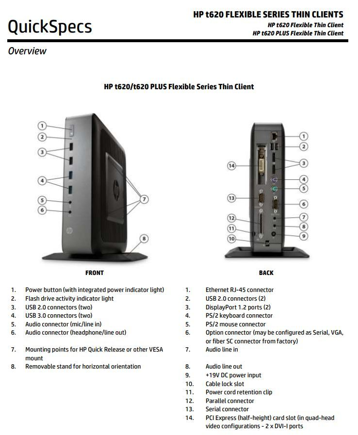 HP T620 Thin Client PC connectors