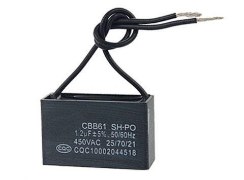 1.2uf 450VAC 50-60Hz 2-Wire Fan Capacitor CBB61