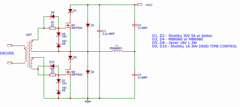 TL494 flyback driver half bridge schematic