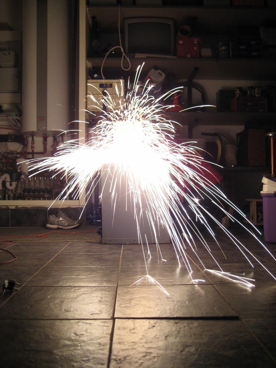 capacitor bank steel wool explosion