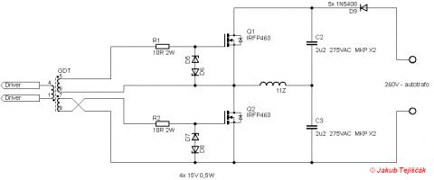 tesla coil half bridge schematic